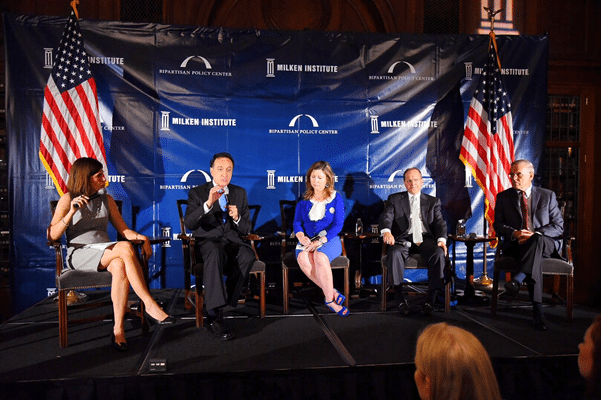 The first panel at the DNC included the Milken Institute's Center for Financial Markets Executive Director Staci Warden, former Housing and Urban Development Secretary Henry Cisneros, Nuclear Energy Institute COO Maria Korsnick, the Milken Institute's Center for Financial Markets Senior Fellow Ed DeMarco, and former Sen. Byron Dorgan.