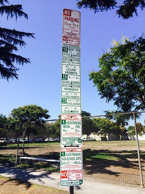 Complicated Parking Signs Pole California