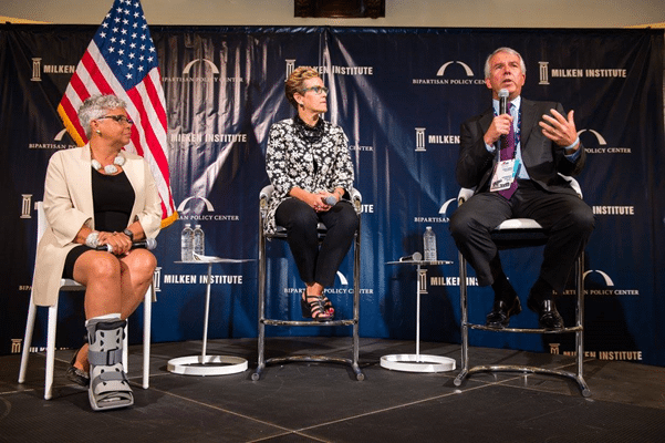 The final RNC panel: Pfizer Chief Medical Officer Freda Lewis-Hall, Milken Institute's FasterCures Executive Director Margaret Anderson, and Celgene Executive Chairman Bob Hugin