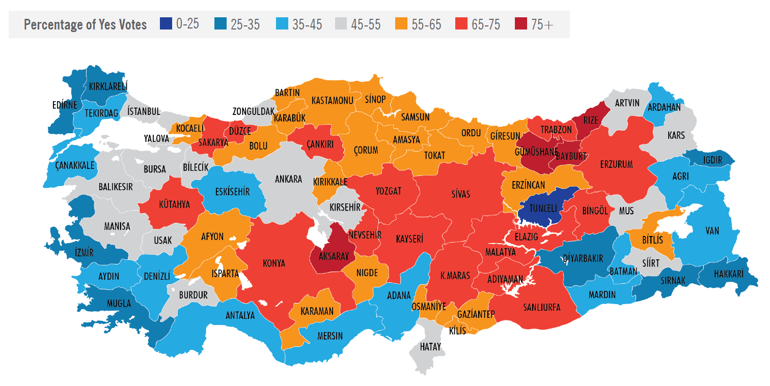 Support and Opposition by Province in Turkey Referendum